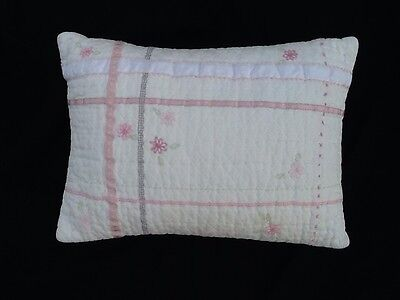 POTTERY BARN KIDS 100% Cotton White Pink Embroidered Baby Girl Pillow Flowers