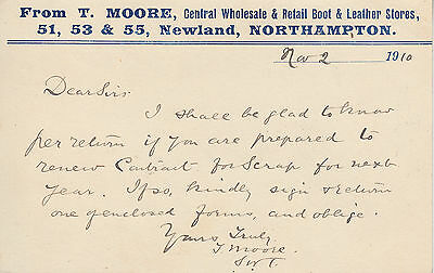 Northampton: Correspondence PC - T. Moore Boot & Leather Stores, Newland (697)