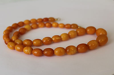 ANTIQUE AMBER NECKLACE, BUTTERSCOTCH EGG YOLK, RARE NATURAL BALTIC AMBER 老琥珀 19g
