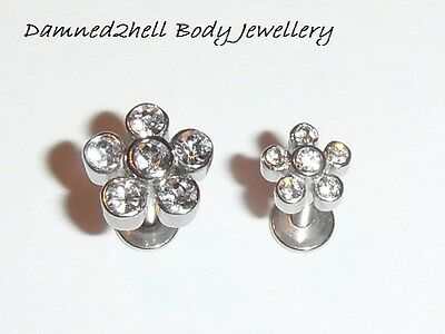 SURGICAL STEEL LABRET TRAGUS STUD WITH CRYSTAL FLOWER DAISY TOP ~ 1.2mm