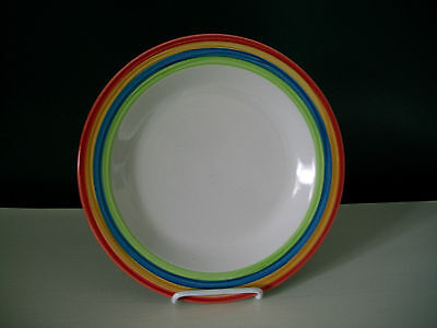 """4 Gibson HandPainted Rainbow Colored Stripes 10 1/2"""" Dinner Plates NEW"""
