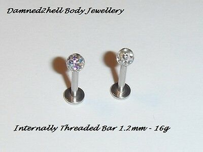 INTERNAL THREAD STEEL LABRET TRAGUS STUD WITH CRYSTAL DISCO BALL TOP ~ 1.2mm