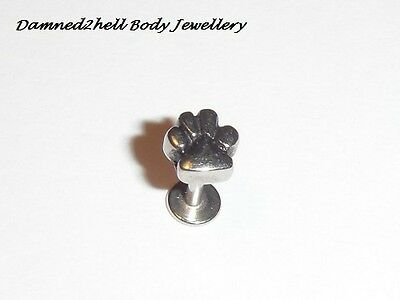 SURGICAL STEEL LABRET TRAGUS STUD WITH ANIMAL PAW PRINT TOP ~ 1.2mm