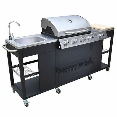 Outdoor Kitchen Barbecue Professional Gas BBQ Montana 4 Burners Grill Hood Wheel