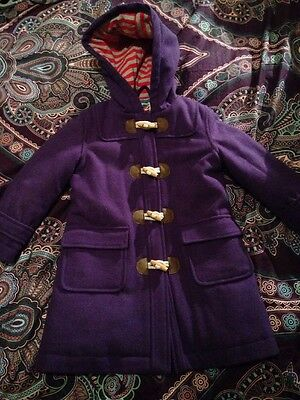 Girls Purple Boden Duffle Coat Age 3-4 Years Worn Once Was £60
