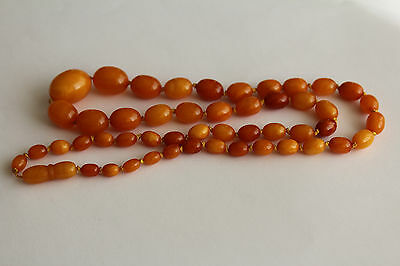 ANTIQUE AMBER NECKLACE, BUTTERSCOTCH EGG YOLK, RARE NATURAL BALTIC AMBER 老琥珀 17g