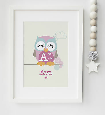 Personalised Baby/Child Owl Boy/Girl Name Print Nursery Keepsake Picture Gift