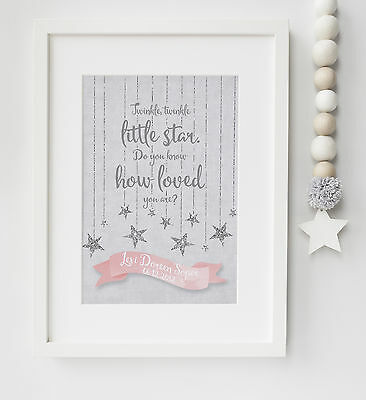 Personalised New Baby/Child Twinkle Twinkle Quote Birth Print Christening Gift