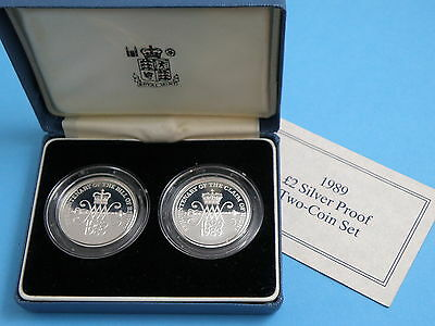 1989 2x SILVER PROOF SET -TWO POUND £2 COINS - Bill of Rights & Claim of Rights