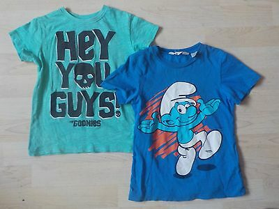 2 x Boys T-Shirts Age 4-5 Years - Smurfs & Goonies - Great Condition