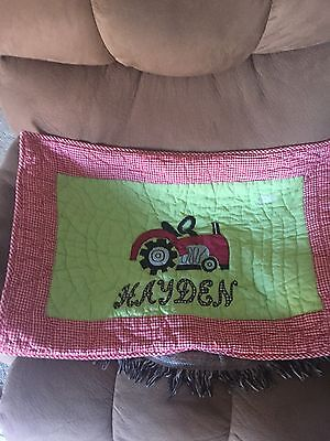 Tractor Pillow Sham With Hayden Monogrammed On Front Sham By Freckles