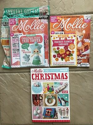 Lot Of 3 Mollie Makes 2016 Magazines With Free Gifts Issues 70 71 + Christmas