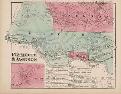 Plymouth Jackson Larksville Pennsylvania Antique Map Beers 1873 Original