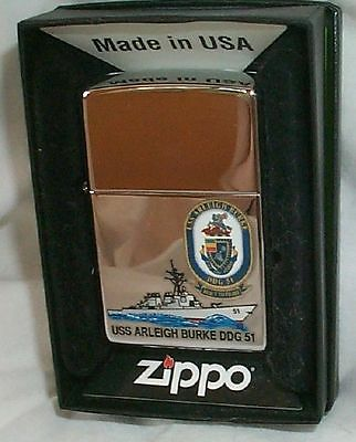 USS Arleigh BURKE Navy Zippo Lighter DDG 51  -- NEW