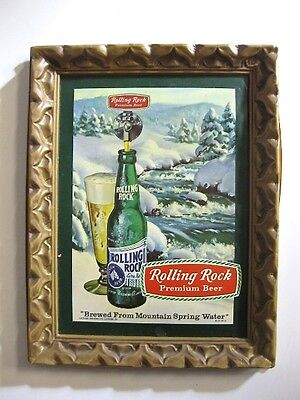 """Vintage 13.5"""" x 10.5"""" Rolling Rock Beer Wall Sign brewed from mountain spring"""