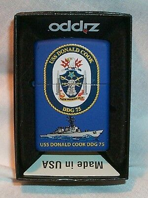 USS Donald Cook Zippo LIGHTER DDG 75 US Navy Ship NEW in Box BLUE MATTE Finish