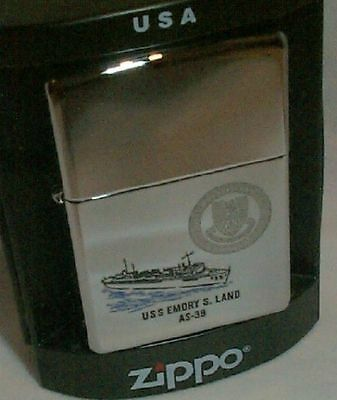 USS EMORY S LAND Zippo Lighter AS- 39  Navy Ship NEW