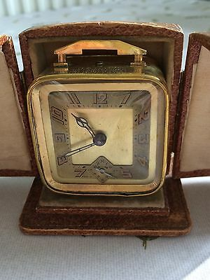 1930s Brevette Brass Clock In Leather Case