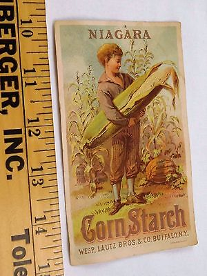Lautz Bros & Co's Niagara Cornstarch Lady Farming Giant Ear Of Corn F45