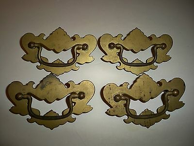 "4 Antique Metal Drawer Pulls-Handles~4 1/2"" Long~With Screws~Ornate"