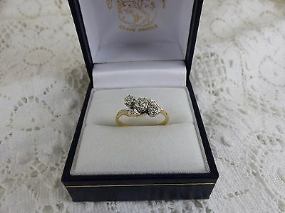 Vintage 18ct Gold & Platinum Three Stone Diamond Ring,0.10ct Size M