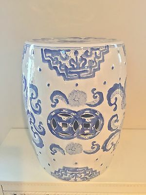 """Chinese blue white porcelain garden stool seat chair Oriental reticulated 17.5"""""""
