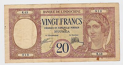 NEW CALEDONIA  - Twenty (20) Francs