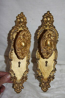 Antique 1903 Brass Oval Door Knobs & Plates FANCY Repousse Roses Custom 2 of 5