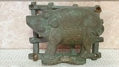 Vintage Brass Piggy Door Knocker ~ Nice Patina ~ Awesome Looking