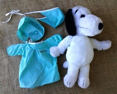 """11"""" Plush Snoopy With Surgeon Doctor Outfit Vintage Peanuts Stuffed Animal"""