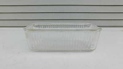 """Vintage Kitchen 8"""" x 4"""" Ribbed Refrigerator Dish Container Clear Glass"""