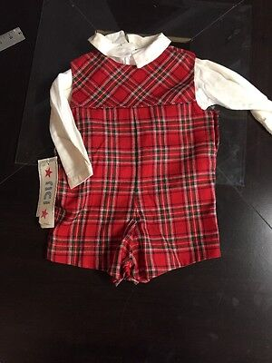 New Boys Red Plaid Short Outfit Size 24 Months Winter Holiday By RICI