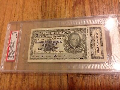 1936 Democratic National Convention FRANKLIN FIELD Pass President Roosevelt PSA