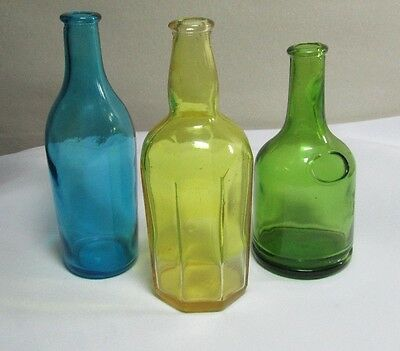Vintage Lot of 3 Colored Bottles JAPAN Markings Blue, Green, Yellow