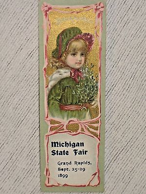 1899 Michigan State Fair Book Mark w Girl -  Reverse Side - Diving Bicyclist