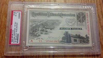 1896 Republican National Convention Ticket Pass President William McKinley PSA 6
