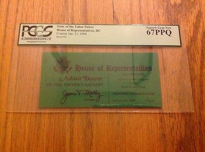 1990 President George Bush State of the Union Address to Congress Ticket PCGS 67