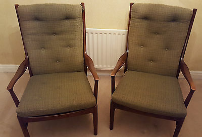 Pair Mid-Century Parker Knoll Florian Ladder Back Fireside Chairs & Cushions