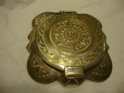 Vintage Un-used Ornate Mexico Sterling Compact w/ Handwritten Provenance Card