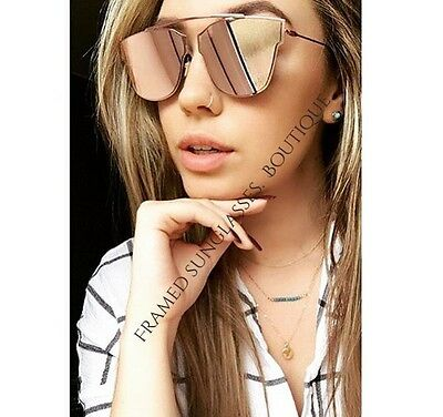 NEW PINK Rose GOLD MIRRORED Reflective AVIATOR SUNGLASSES Celeb STYLE Marbs