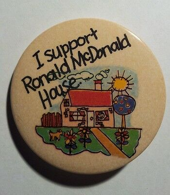 """Vintage Collectible """"I Support Ronald McDonald House"""" 2 1/8"""" Button/Pin"""