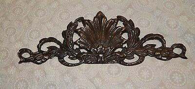 Vintage Brass  BRONZE SCROLL Above Picture Mirror Door Topper OLIVE BRANCH