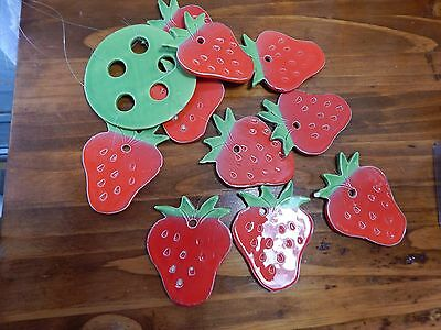 Vintage Ceramic Strawberry Wind Chime Berries Festival Handmade Hand Painted
