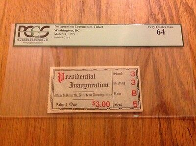 1929 President Herbert Hoover Inauguration Inaugural Ticket Credential PCGS 64