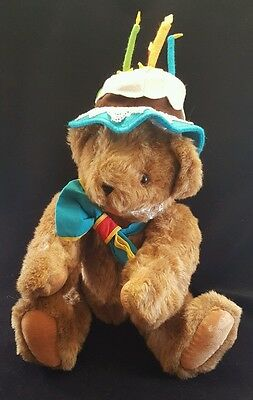 Vermont Teddy Bear Celebration Birthday Cake Hat Plush Fully Jointed Brown