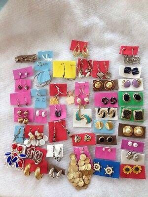 Lot Of 45 Pairs Of Vintage Earrings Button/Hoop/Dangle/Clip