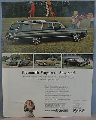 Orig. 1965 Plymouth Wagon Magazine Ad, Full Page, 11 X 13 1/2 in., Great Shape