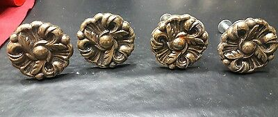 Vintage antique brass metal Drawer Knobs Pulls Provincial Flower lot of 4 lot 6