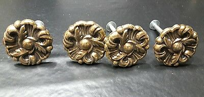 Vintage antique brass metal Drawer Knobs Pulls Provincial Flower lot of 4 lot 8