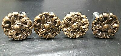 Vintage antique brass metal Drawer Knobs Pulls Provincial Flower lot of 4 lot 9